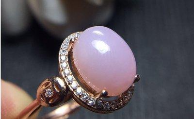 天然AAA级粉歐泊925純銀鑲鑽镀玫瑰金活口戒指 現貨庫存 不用等