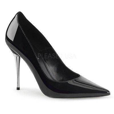 Shoes InStyle《四吋》美國品牌 PLEASER 原廠正品漆皮基本款尖頭金屬鍍鉻高跟包鞋 有大尺碼出清『黑色』