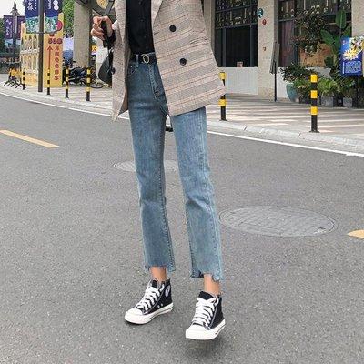牛仔褲 涼感女春裝新款高腰寬鬆闊腿顯瘦百搭學生九分cec直筒褲子 全館免運