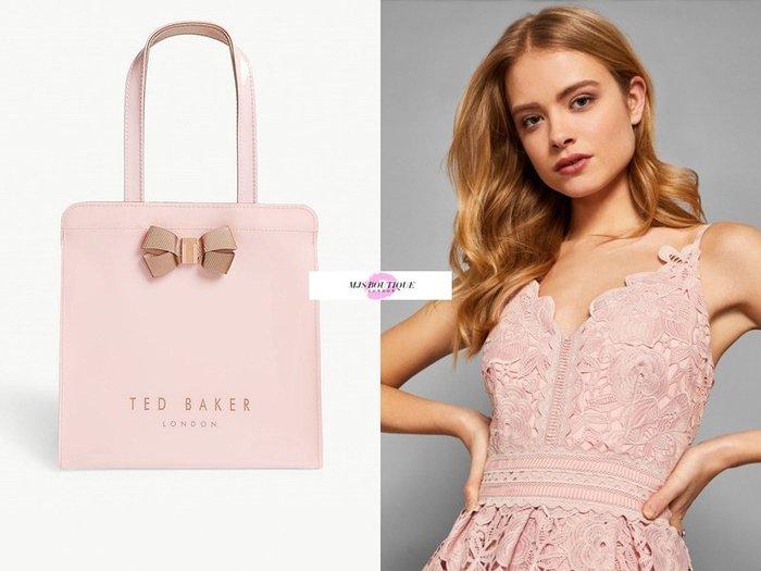 【MJS BOUTIQUE】Ted Baker 英倫品牌 小款 粉裸色經典品牌LOGO蝴蝶結PVC手提袋 / 購物包