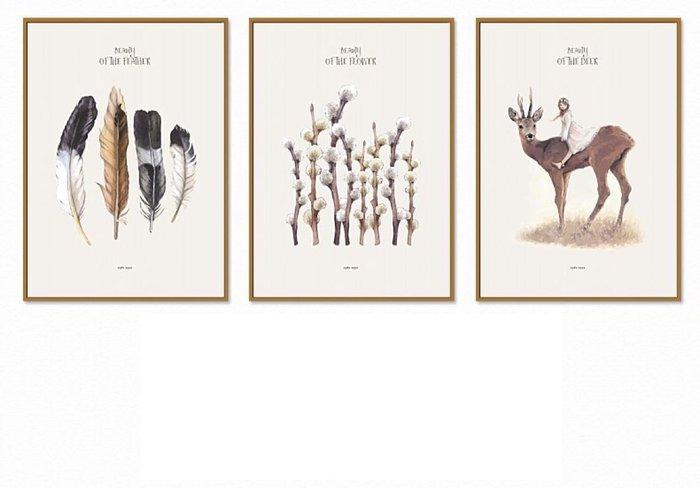 ☺暖暖屋☺傢居藝術館 北歐現代小清新羽毛麋鹿裝飾畫/沙發背景牆裝飾畫/掛畫/有框畫/多款樣式/多種尺寸