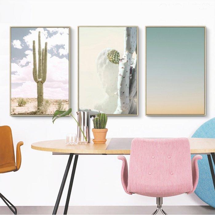 三幅一組油畫布 北歐小清新仙人掌 畫芯/畫布/30X40☺暖暖屋☺傢居藝術館