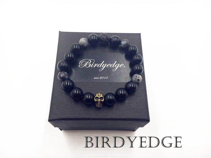 【Birdy Edge】品牌 手環 串珠 麻腦 石珠 巴西麻腦石 火山岩 灰色麻腦 工業 設計