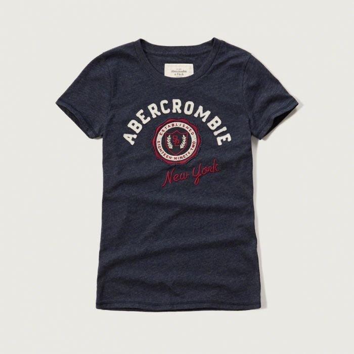 美國百分百【Abercrombie&Fitch】T恤 AF 短袖 T-shirt 短T 麋鹿 上衣 女款 藏藍 G264