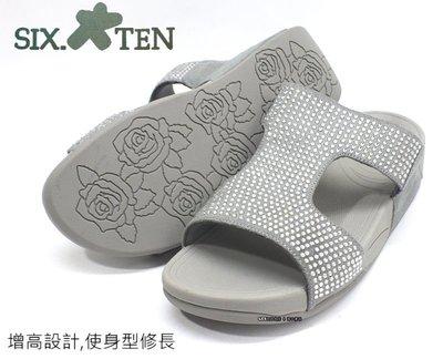 SIX TEN  女款亮鑽面厚底休閒拖鞋 (W8531)