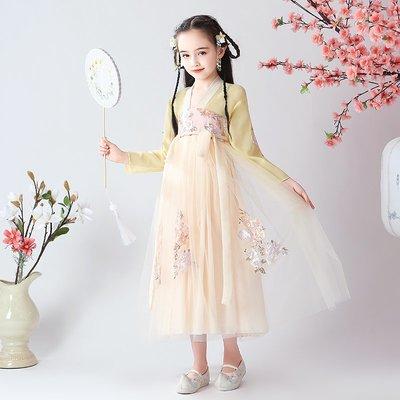 漢服 連身裙 長裙 童裝 旗袍漢服女童中國風唐裝超仙小女孩洋氣古裝風襦裙兒童夏裝雪紡連衣裙