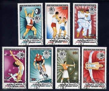 (8 _ 8)蒙古郵票-1984年-奧運-體操,跳高,舉重,射箭等- 7 全-蒙古外銷票--外拍奇66M109-雙僅一套