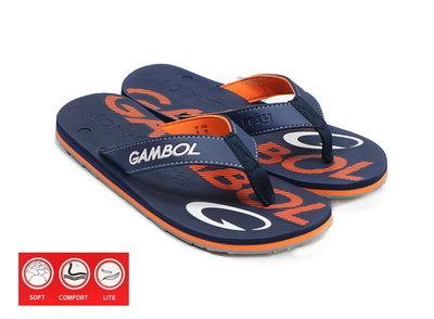 GAMBOL 男款運動休閒夾腳拖鞋  ( GM11303L 藍)