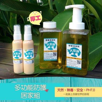 勤洗手,防疫組(四入)手工檸檬清潔劑 泡泡瓶(500ml)+補充罐2瓶(1000ml) +檸檬乾洗手X2 大宏味手作坊