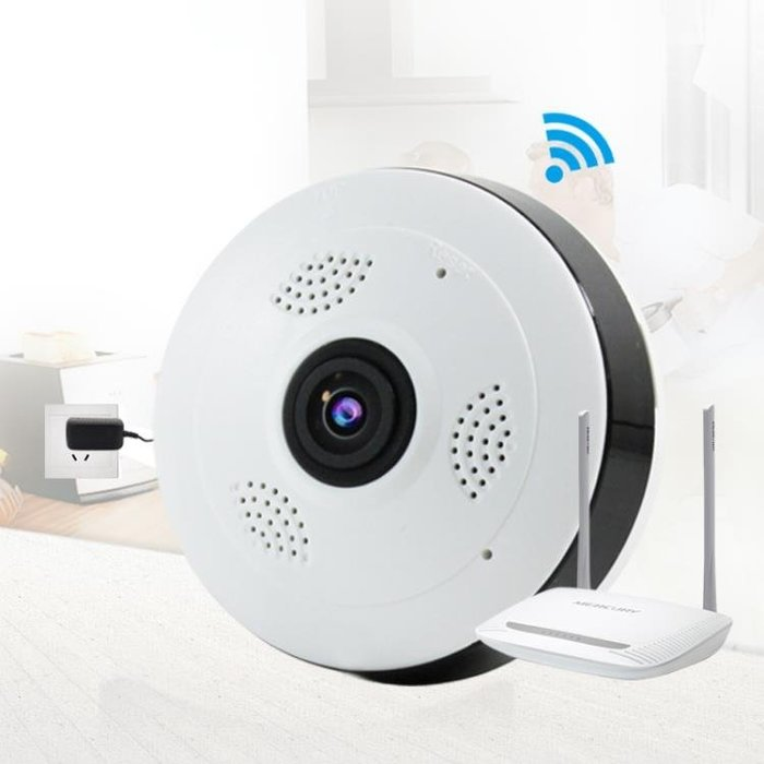 360度全景攝像頭一體機無線監控器wifi網路插卡手機遠程 家用探頭