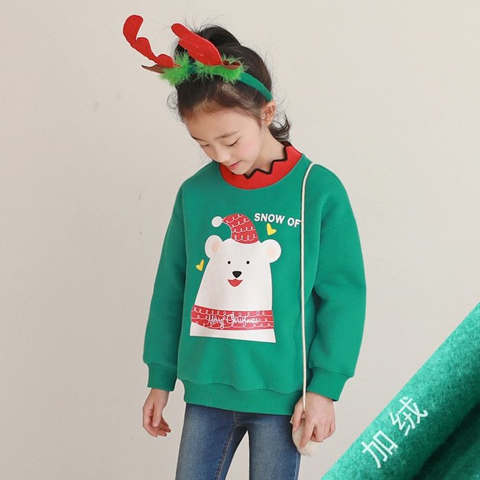 聖誕女童上衣冬季兒童中大童加絨保暖打底上衣寶寶可愛套頭衫--崴崴安