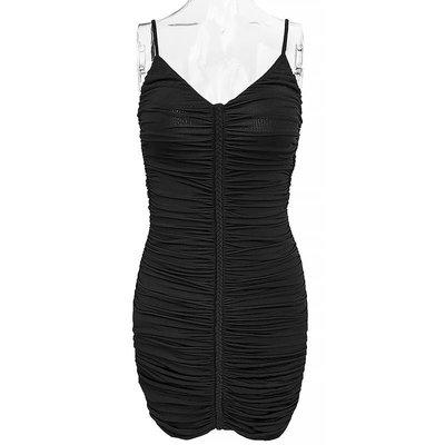美國品牌Guess by Marciano黑色抓褶修身細肩帶包臀洋裝 XS號