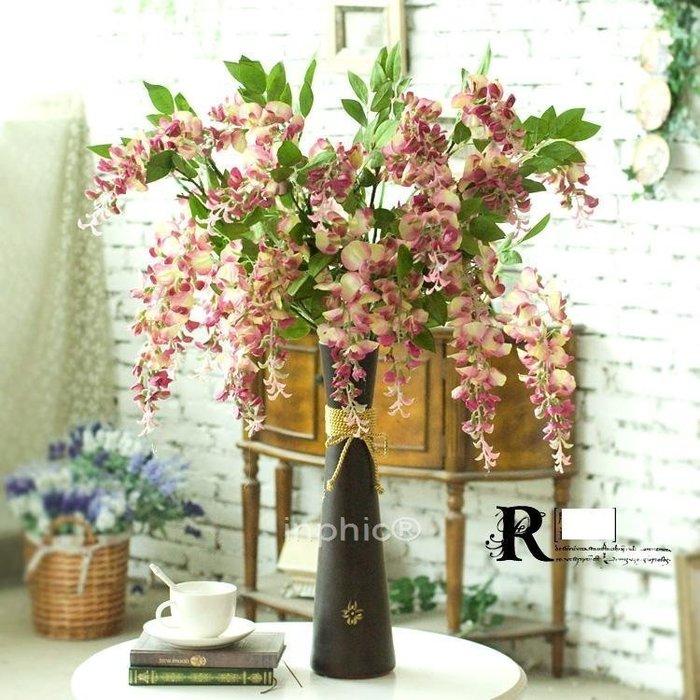 INPHIC-歐式金色繩結陶瓷圓形富士花瓶10支長枝小豆花 仿真花藝套裝 2色