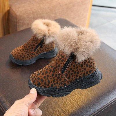童靴 冬季正韓兒童百搭短靴加絨毛毛口雪地靴男女童時尚馬丁靴-小精靈