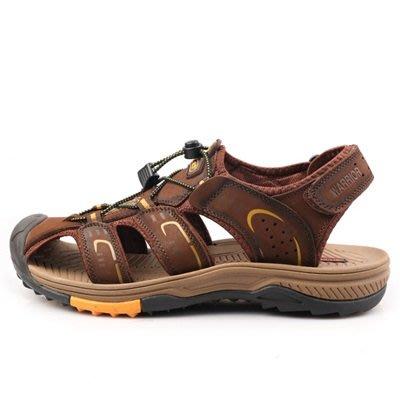 涼 鞋 真皮拖鞋-夏季透氣舒適休閒男鞋子3色73sa10[獨家進口][米蘭精品]