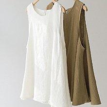 背心棉麻衫韓風 雅致A字背心上衣+美感有型綁帶 艾爾莎【TGK6705】