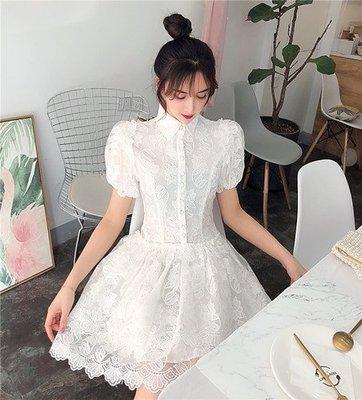 5631夏裝2019超仙法式小眾裙泡泡袖蛋糕裙白色蕾絲連衣裙實拍