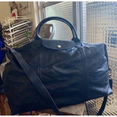 Longchamp Le Pliage Cuir -navy blue 大行李袋