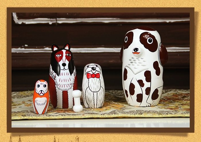 套件 套娃 俄羅斯進口 正品 狗狗寵物 套娃 森林系列組合 生日禮物 主人 禮物 創意禮物彩繪 手工椴木 工藝品 預購
