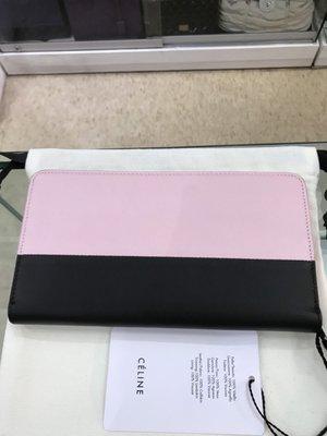 Celine 淡粉紅色×黑色ㄇ字型長夾