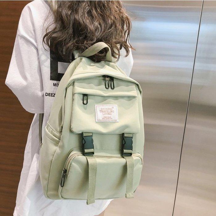 FuNFang_小清新粉嫩純色尼龍布後背包*5色