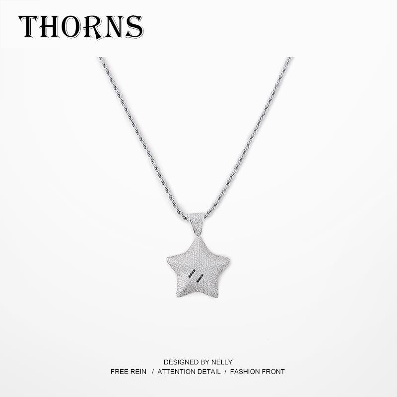 【THORNS】嘻哈項鏈男潮hiphop潮牌佛手圓牌配飾韓版簡約潮鑲鉆日系吊墜男女