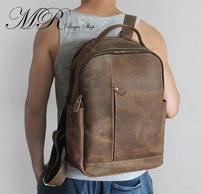 [SM161104-1]復古瘋馬皮手工包頭層牛皮型男真皮户外休閒旅行背包後背包-3色