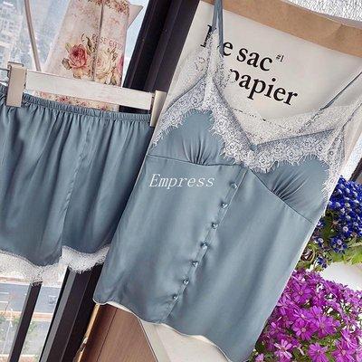 Empress丶夏季睡衣女兩件套裝正韓吊帶短褲性感仿真絲綢家居服蕾絲帶胸墊薄