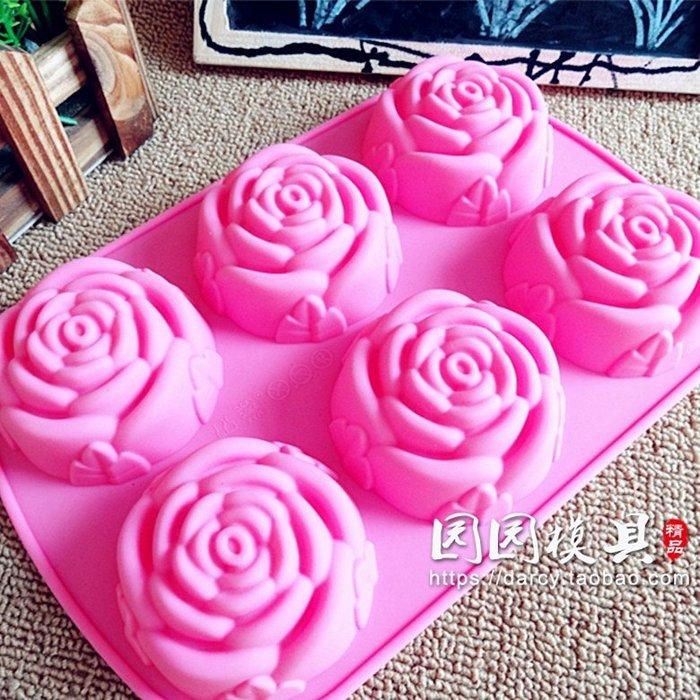 千夢貨鋪-6連玫瑰紅甜點慕斯蛋糕裝飾果凍巧克力耐高溫食品級硅膠烘焙模具#手工皂#香皂#製作材料#去螨蟲#清潔