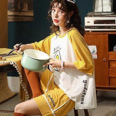 睡衣 純棉短袖T恤 短褲  韓版可愛居家服 可外穿兩件套裝 閨蜜裝—莎芭