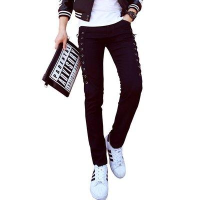 FINDSENSE Z1 日系 流行 男 時尚 緊身修身 個性側邊系繩 休閒長褲 牛仔長褲