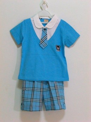 《耕魚小店》台灣製造專櫃童裝~(零碼出清)假兩件式水藍色格紋套裝(只剩一套110公分)