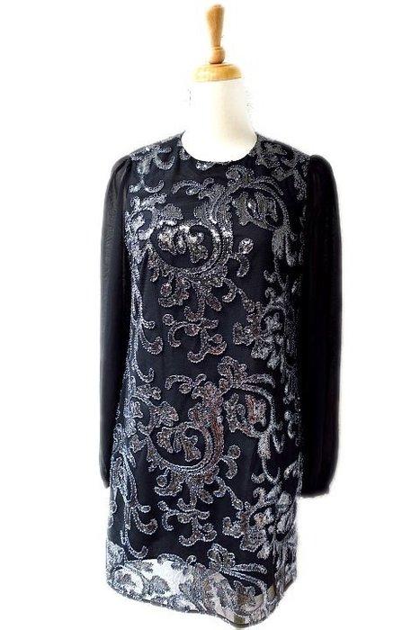 *Beauty*Juice Couture黑底銀色亮片絲質長袖洋裝 38號 6980元 WE17 加圖
