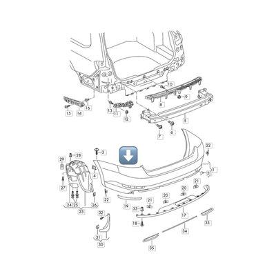 ※寶捷國際※【SD06503B】2016 SKODA SUPERB 3 旅行車 後保桿 3V9807421B 台灣製造