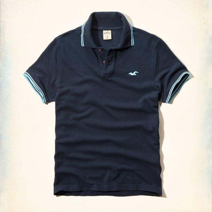 美國百分百【Hollister Co.】Polo衫 HCO 短袖 海鷗 素面 網眼 上衣 復古 深藍 XL號 G414