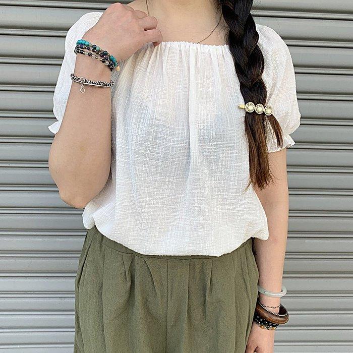 正韓【Meet Shop】Aug-06 可愛後綁帶小蓬袖棉麻上衣 2way 白色 現貨