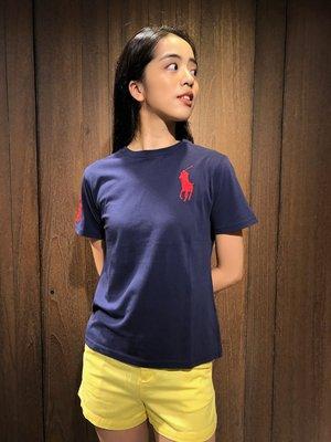 美國百分百【全新真品】 Ralph Lauren T恤 RL 短袖 T-shirt Polo 大馬 素面 深藍 E102