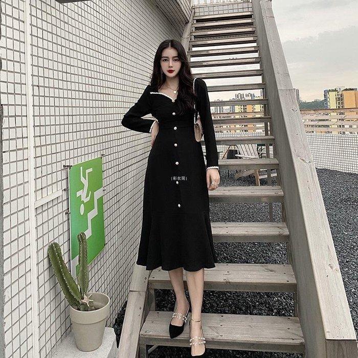 {彩衣閣} 長袖連衣裙2020潮新款秋冬季魚尾裙子仙女黑色收腰過膝長裙復古氣質