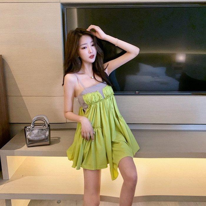 吊帶裙 裙子女2019新款夏季小性感港風ins吊帶拼接不規則連衣裙長款上衣