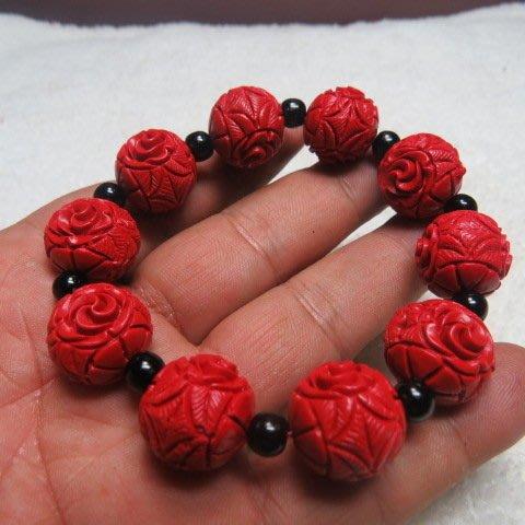 【競標網】天然漂亮硃砂造型蓮花15mm手珠(超低價起標、價高得標、一件不留、標到賺到)