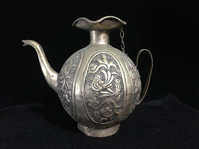 早期收藏-手工藏銀製品-錫合銀擺件觀賞壺-荷領花鳥