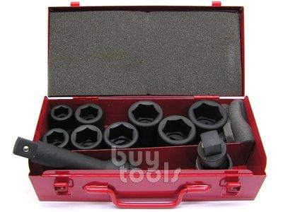 台灣工具-《專業級》氣動六分套筒組/六分氣動短套筒組-19~36mm*6角、附6吋接桿/萬向套筒接頭/彩色鐵盒裝「含稅」