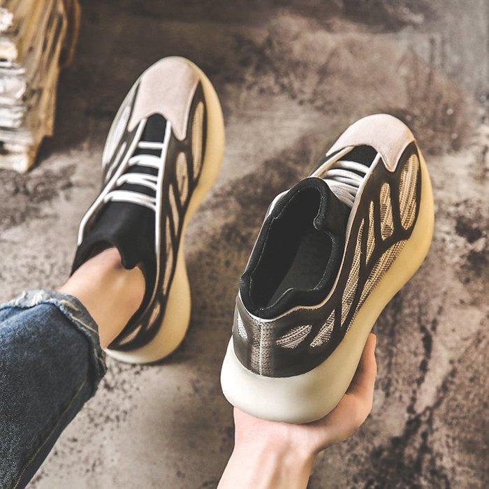 6Du spot~ins潮2020新款夏季透氣網面鏤空運動鞋男百搭休閑增高厚底老爹鞋