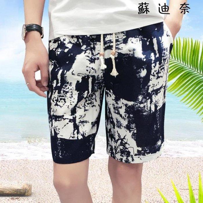 {全館免運_可開發票}海灘褲 男士花短褲夏季沙灘褲五分褲 【愛購】