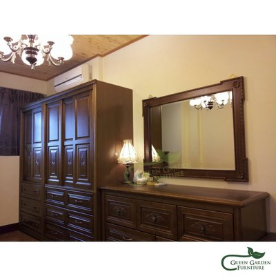 米洛 柚木牆鏡【大綠地家具】100%印尼柚木實木/木鏡/穿衣鏡/化妝鏡/鏡子/巴洛克華麗風/橫款立款兩用
