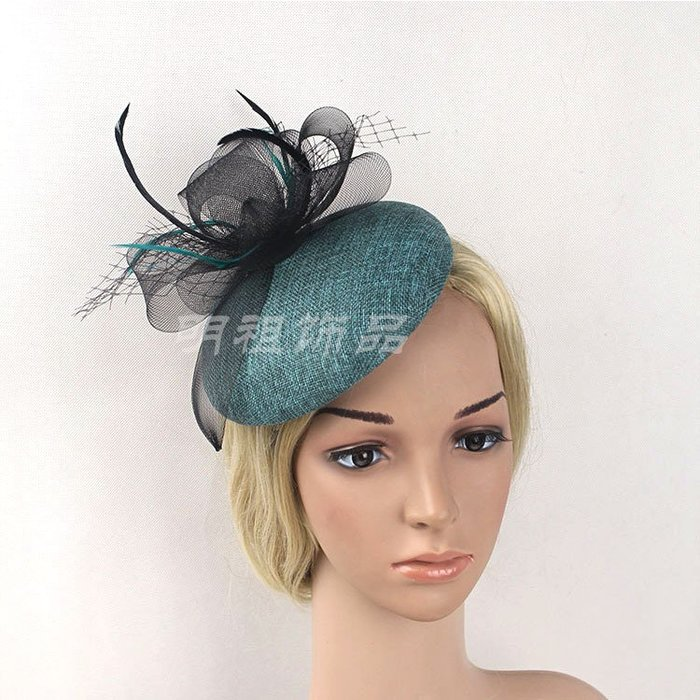 周可可 歐美新款麻紗帽底網紗頭飾宴會賽馬教堂頭飾發飾新娘禮帽頭飾款 ZC2259