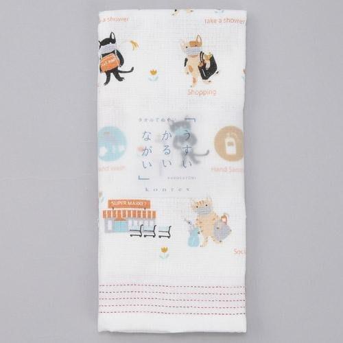 日本製 Kontex 今治毛巾 可愛口罩貓 繪畫風格 純棉紗布巾