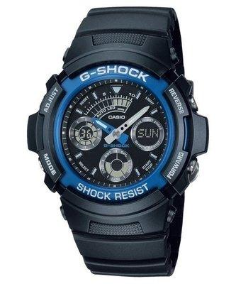 【東洋商行】免運 CASIO 卡西歐 G-SHOCK 運動概念錶 黑x藍 AW-591-2ADR 手錶 電子錶 腕錶