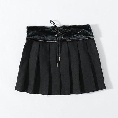 名媛! 奧系列 學院風高腰綁帶百褶短裙AJ91127 - M/L