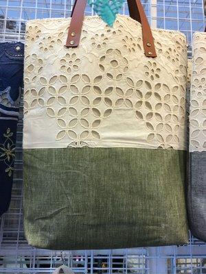 泰國帶回 文青風 棉麻 立體鏤空 車花 布包 購物袋 現貨